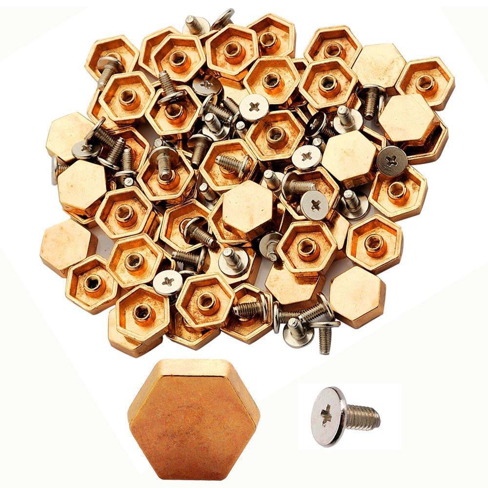 100pcs Cone Spikes Screwback Studs DIY Craft Cool Rivets Punk Stud Hexagon Style 12x4mm 1/2