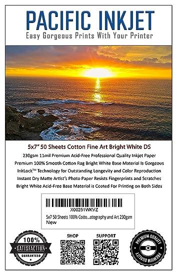 Amazon.com: 5 x 7 50 hojas 100% algodón Fine Art Mate Blanco ...