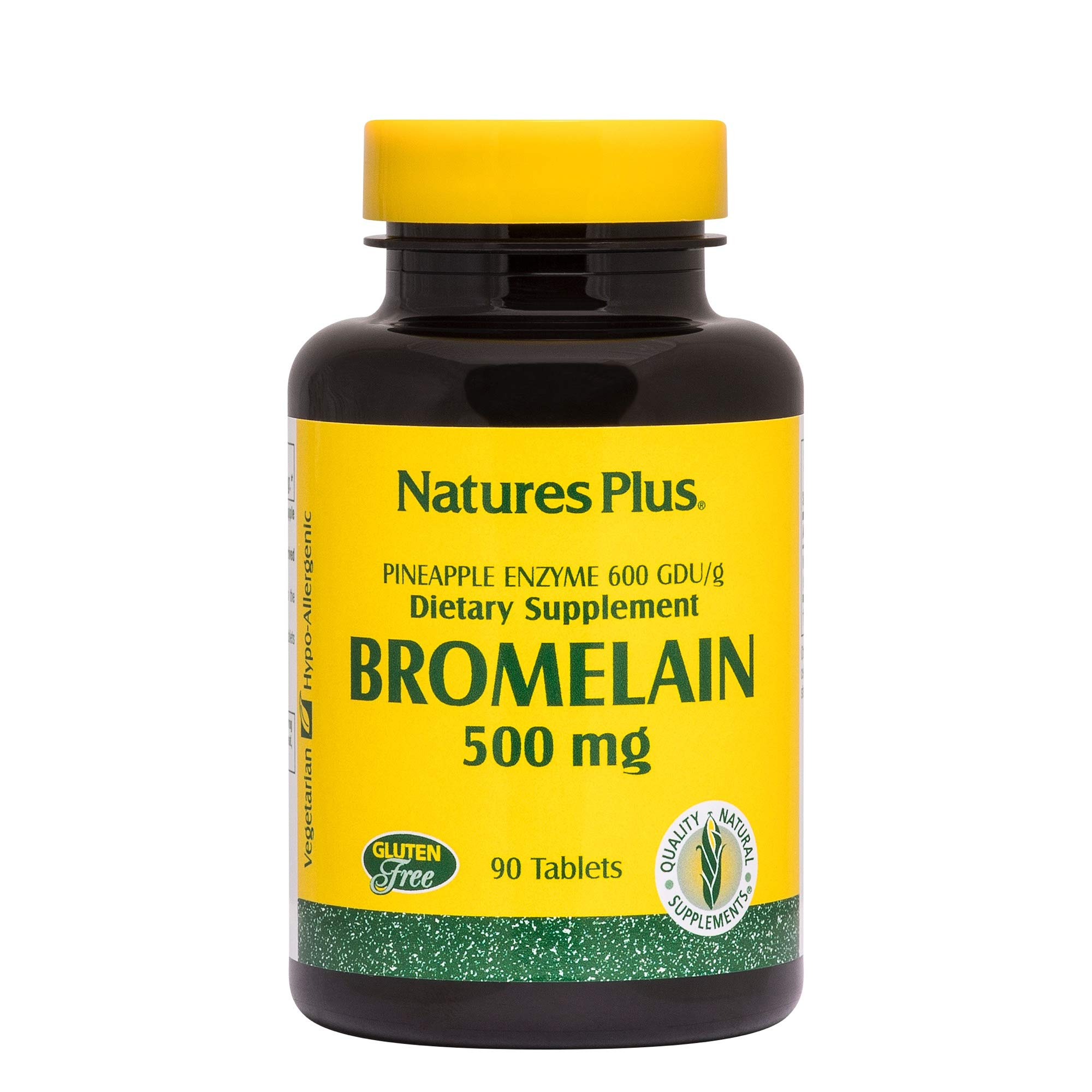 Natures Plus Bromelain - 500 mg, 90 Vegetarian Tablets - Natural Proteolytic Enzyme Supplement, Sinus Support Supplement, Anti Inflammatory - Gluten Free - 90 Servings