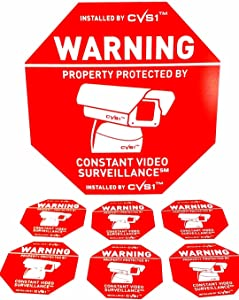 Security Camera Warning Sign & 6 Security Camera Static Cling Decals