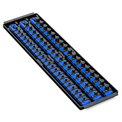 Ernst Manufacturing Socket Boss 3-Rail Multi-Drive Socket Organizer, 19-Inch, Blue - 8451A - Ernst Twist Lock Socket Organizer - .com [5Bkhe0409097]