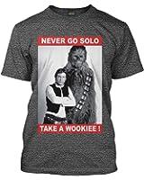 Star Wars Fan T-Shirt - Never Go Solo Grau