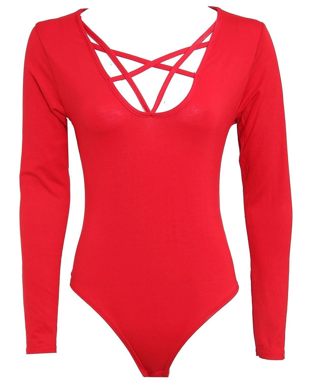 Funky Fashion Ladies Long Sleeve Cross Strap Scoop Neck Bodysuit Plain Leotard Top 8-22
