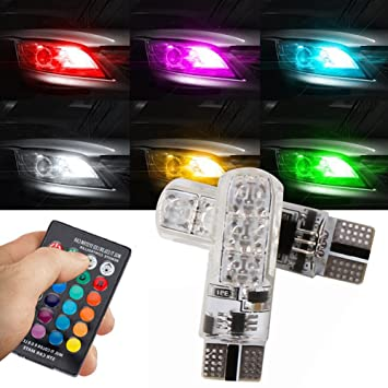taben T10 194 LED Bombilla RGB coche mando a distancia inalámbrico 16-colors Changing 6