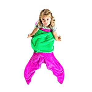 Blankie Tails Mermaid Tail Blanket for Toddlers - Toddler Fleece Blanket That Lets Feet Fit Into The Tail - Perfect Pink and Green Toddler Blanket for Girls