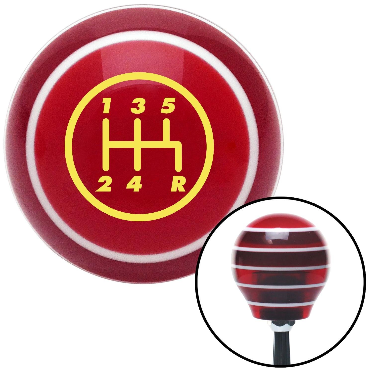 Yellow 5 Speed Shift Pattern - 5RDR American Shifter 117334 Red Stripe Shift Knob with M16 x 1.5 Insert
