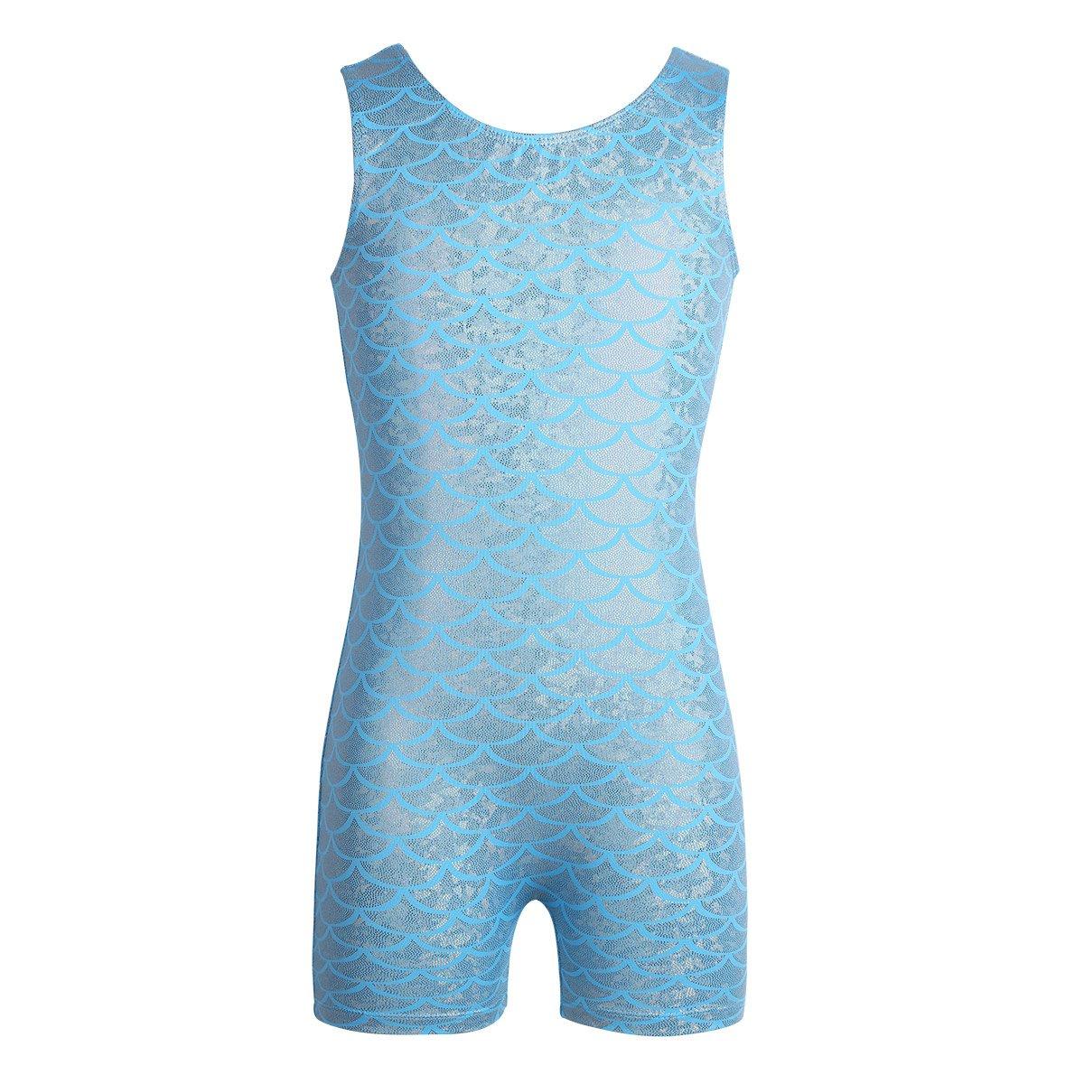 CHICTRY ガールズ ミスティック スパークルノースリーブ 体操 タンクトップ レオタード カラフル リボン ダンス ユニット B07DPHZNMT 6-7|Shiny Scales Blue Shiny Scales Blue 43623