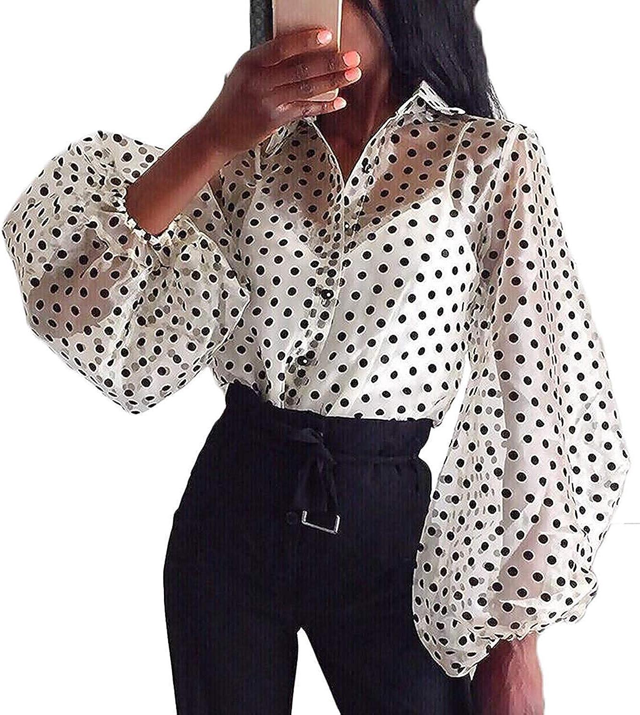 Camisa de Manga Larga para Mujer Top Blusa Transparente Casual con Lunares Crop Top Suelto de Punto de Moda Camiseta de Verano Primavera