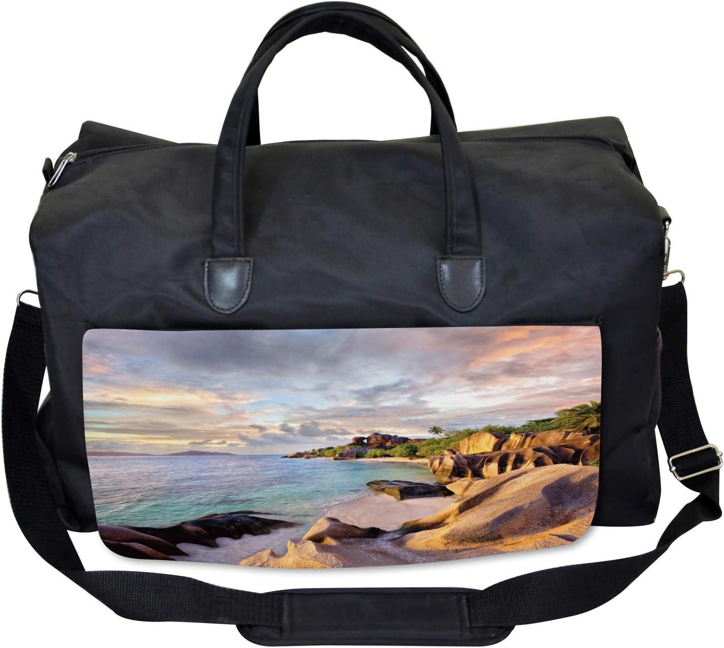 Large Weekender Carry-on Rock Sandy Beach Island Ambesonne Tropic Gym Bag