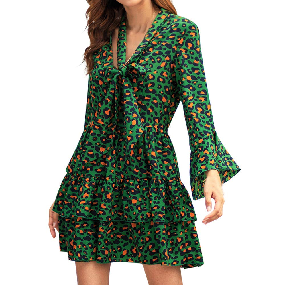 Ladysdress Leopard Print Boho Dress, Sexy Womens Holiday Casual Sundress Long Sleeve Mini Dress with Belt Green