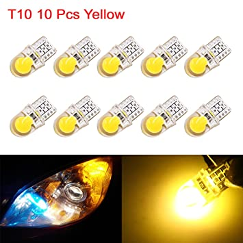 sourcing map 10uds T10 Bombillas LED Amarillo Brillante Interior Coche Vehículo DC 12V W5W Cuña 192 168: Amazon.es: Coche y moto