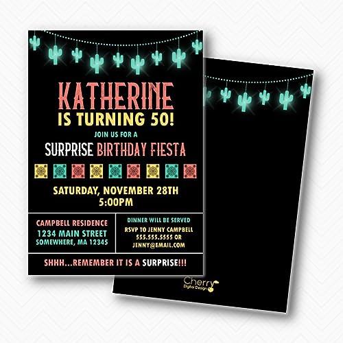 amazon com fiesta surprise birthday party printed invitations