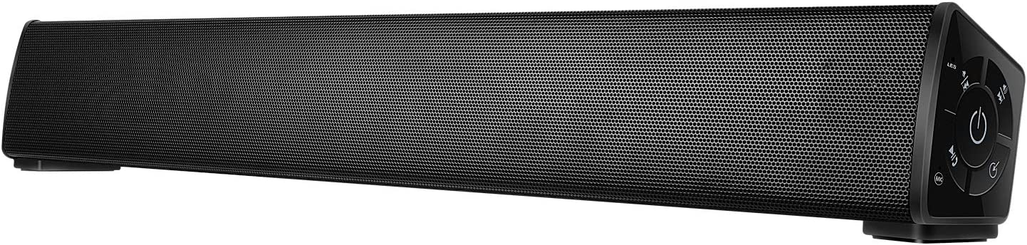 Sound bar Bluetooth Wireless, Home Theater PC Speaker Bar with Remote Control,TF Card- Surround Soundbar for PC/Phones/Tablets, 2 X 10W Compact Sound Bar 2.0 Channel