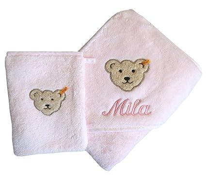 Conjunto toalla con capucha con fabricado mediante el sistema de Ihrem Wunsch-nombre en la