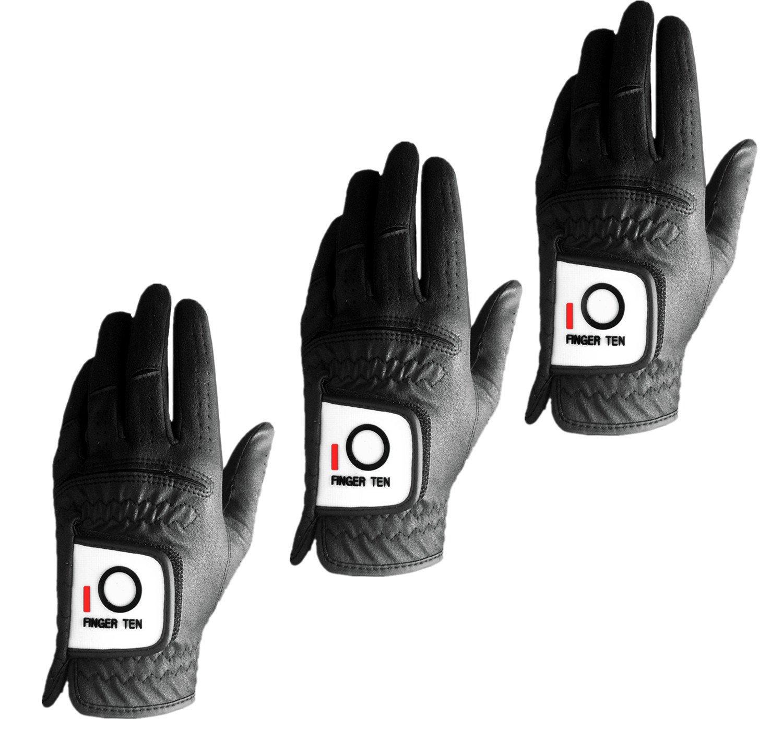 FINGER TEN Men Golf Gloves Left Hand 3 Pack, Black Rain Grip Hot Wet Weather Soft Durable, Fit Small Medium Large XL (Black, Small)