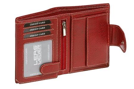 f8b5bea719fb09 LEAS Große Damen Geldbörse Portemonnaie mit Außenriegel und Reißverschluss  und wunderschöner Struktur im Hochformat Echt-