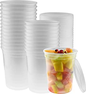 32-Ounce Clear Deli Containers with Lids | Stackable, BPA-Free Food Storage Container Set | Recyclable Space Saver Airtight Container for Kitchen Storage, Meal Prep, Take Out | 30 Pack