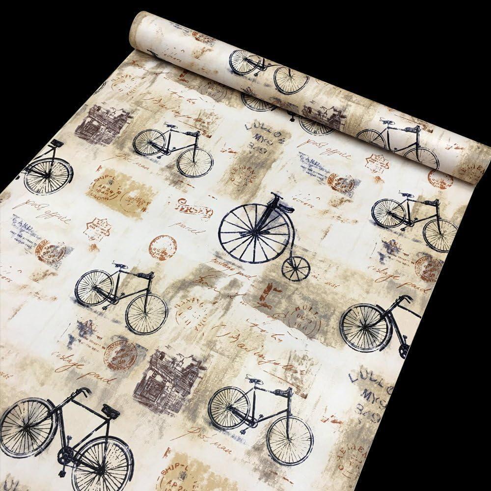 Yifely Shabby Chic Bikes Furniture Paper Self-Adhesive Shelf Liner Drawer Locker Sticker 17.7 Inch by 9.8 Feet
