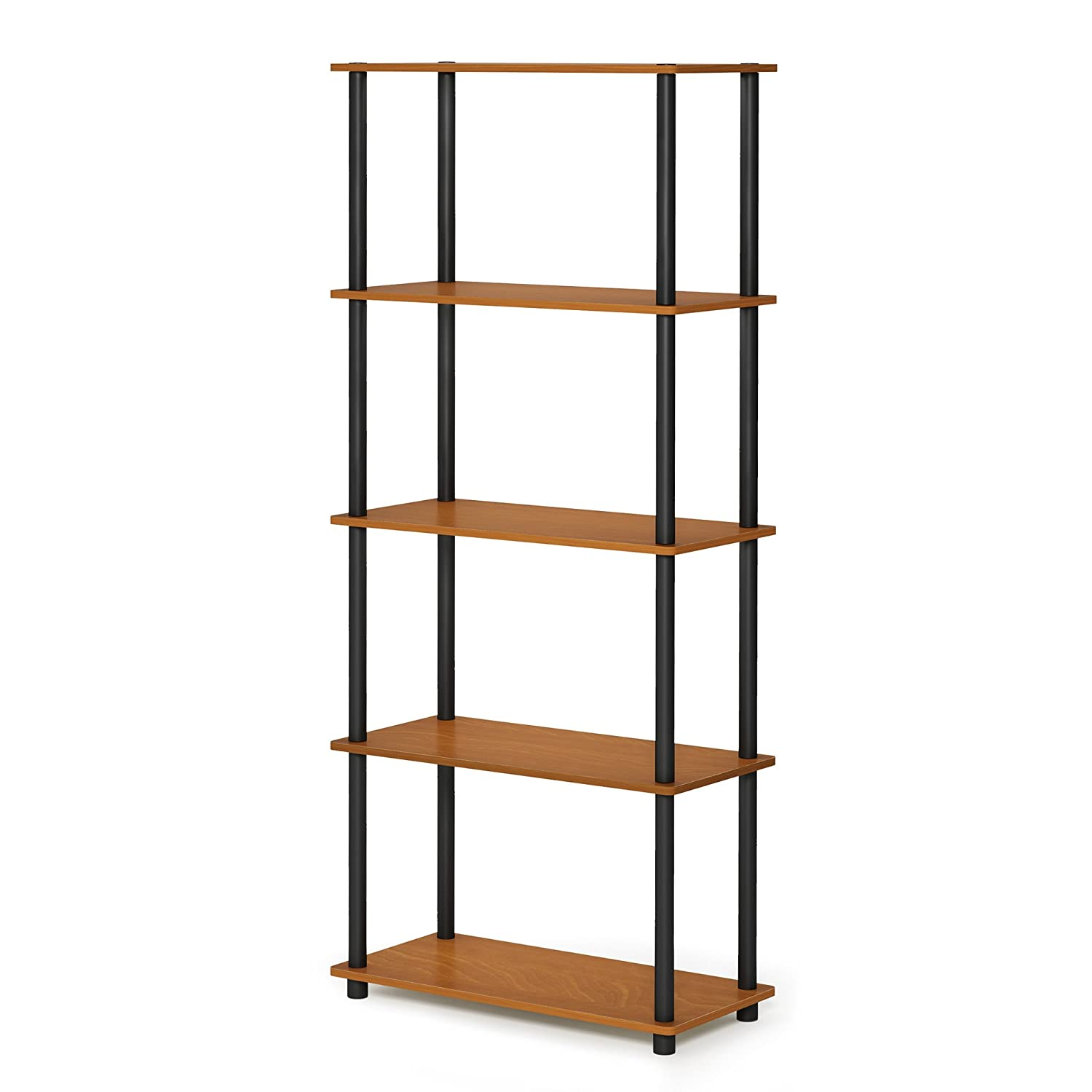 FURINNO Turn-N-Tube 5-Tier Multipurpose Shelf Display Rack, Single, Light Cherry/Black