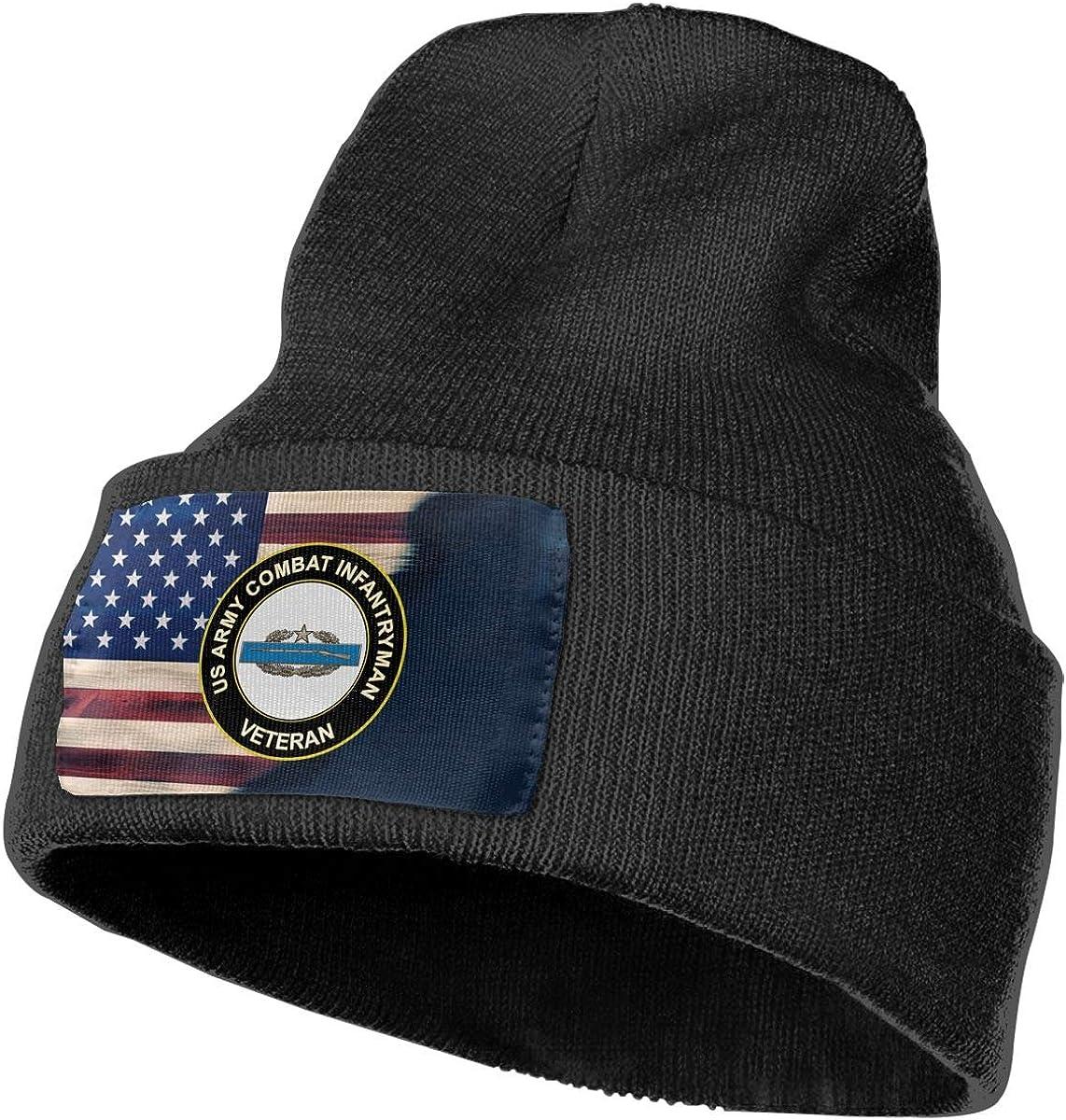 FORDSAN CP US Army Combat Infantry 2nd Award Veteran Mens Beanie Cap Skull Cap Winter Warm Knitting Hats.