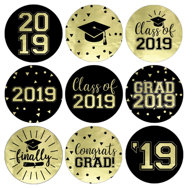 Class of 2019 Graduation Party Favor Labels Gold FOIL 216 Stickers