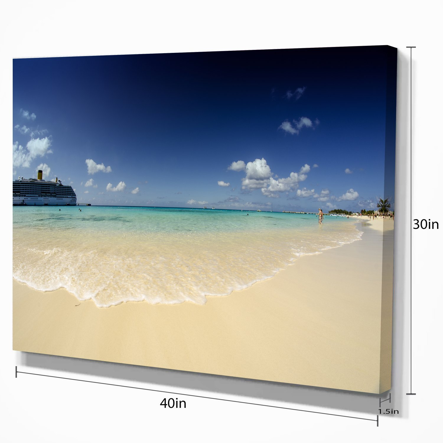 36x28-3 Panels Blue Designart Crystal Waters of Grand Cayman-Seashore Photo Canvas Art Print-36x28in-Multipanel 3 Piece