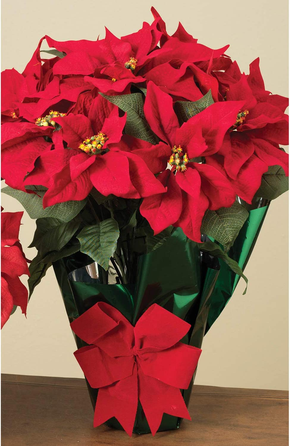 Amazon Com Ac 22 Potted Red Poinsettia Plant With 10 Flowers And Decorative Bow Home Kitchen