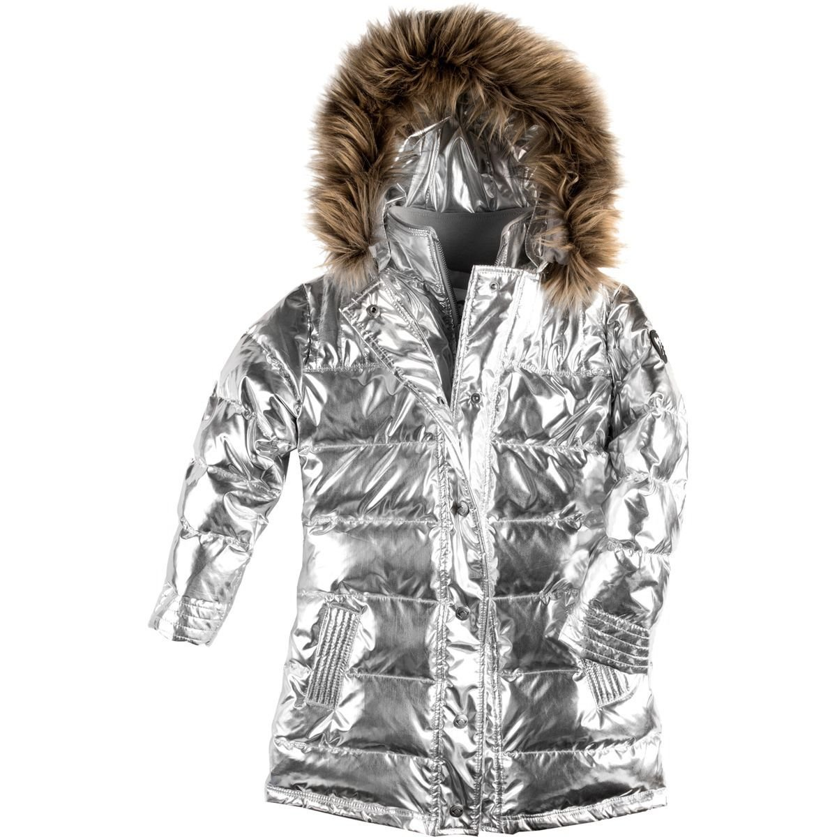 Appaman Long Down Coat - Girls' Silver, 12