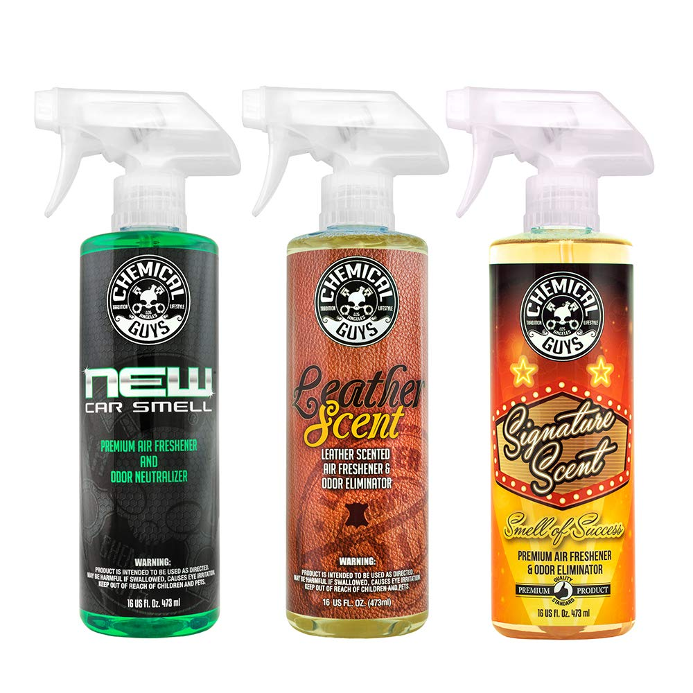 Chemical Guys AIR_301 Best Air Freshener Kit - New Car Scent, Leather Scent & Signature Stripper Scent (3) 16 oz. Bottles by Chemical Guys