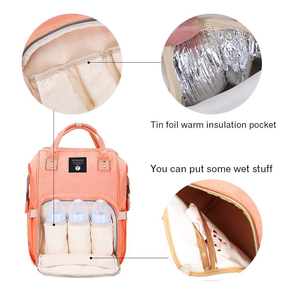 Stylish Diaper Bag Large Capacity Multi-Function Waterproof Travel Backpack Nappy Bags for Baby Care Durable Nursing Bag for Mummy Contains 2 Free Saliva Towels (Orange)