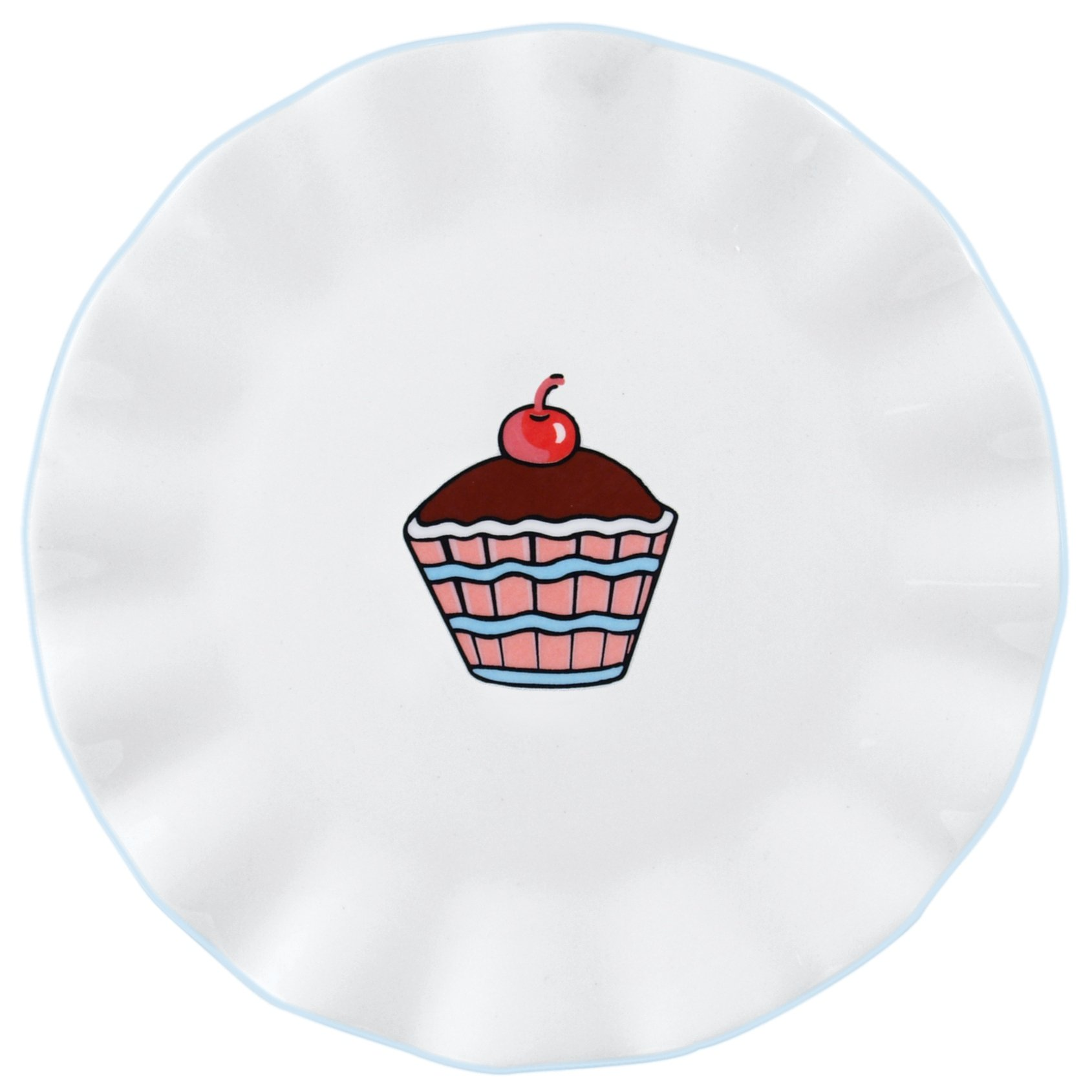 Everyday Cupcake 7'' Ruffles Plate [Set of 4] by Omniware