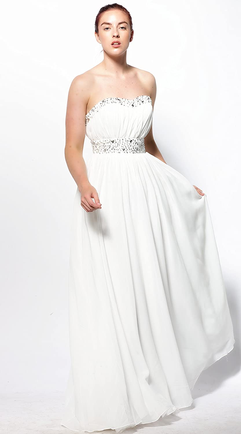 atopdress @039 Ball prom sequined gown evening dress party wear Bridemaids (12, ivory): Amazon.co.uk: Clothing