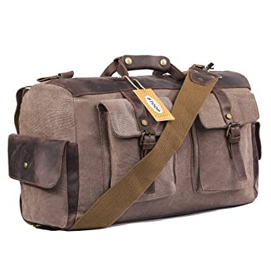 Amazon.com: Overnight bag Canvas Genuine Leather Travel Duffel ...