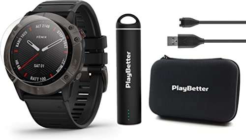 Garmin Fenix 6X Sapphire Gray DLC with Black Band Power Bundle with HD Screen Protectors, PlayBetter Portable Charger Protective Hard Case PulseOx, ClimbPro, Maps, PacePro, Spotify, Music