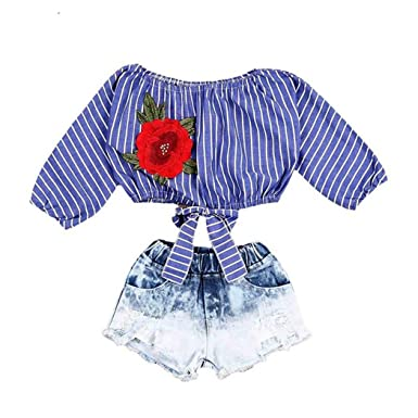 0601d391e817c Amazon.com  FUNOC Girl Clothes Off Shoulder Striped Embroidery Rose Flower  Crop Tops +Denim Shorts Set  Clothing