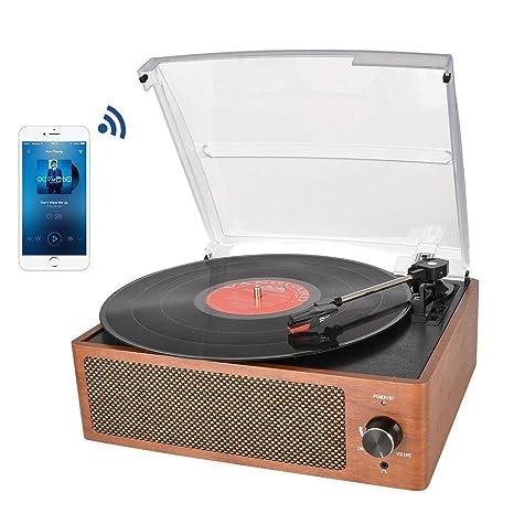 Tocadiscos estéreo de 3 velocidades con Altavoces incorporados, Salida RCA / Auriculares / MP3 / reproducción de música de móviles, Madera Natural