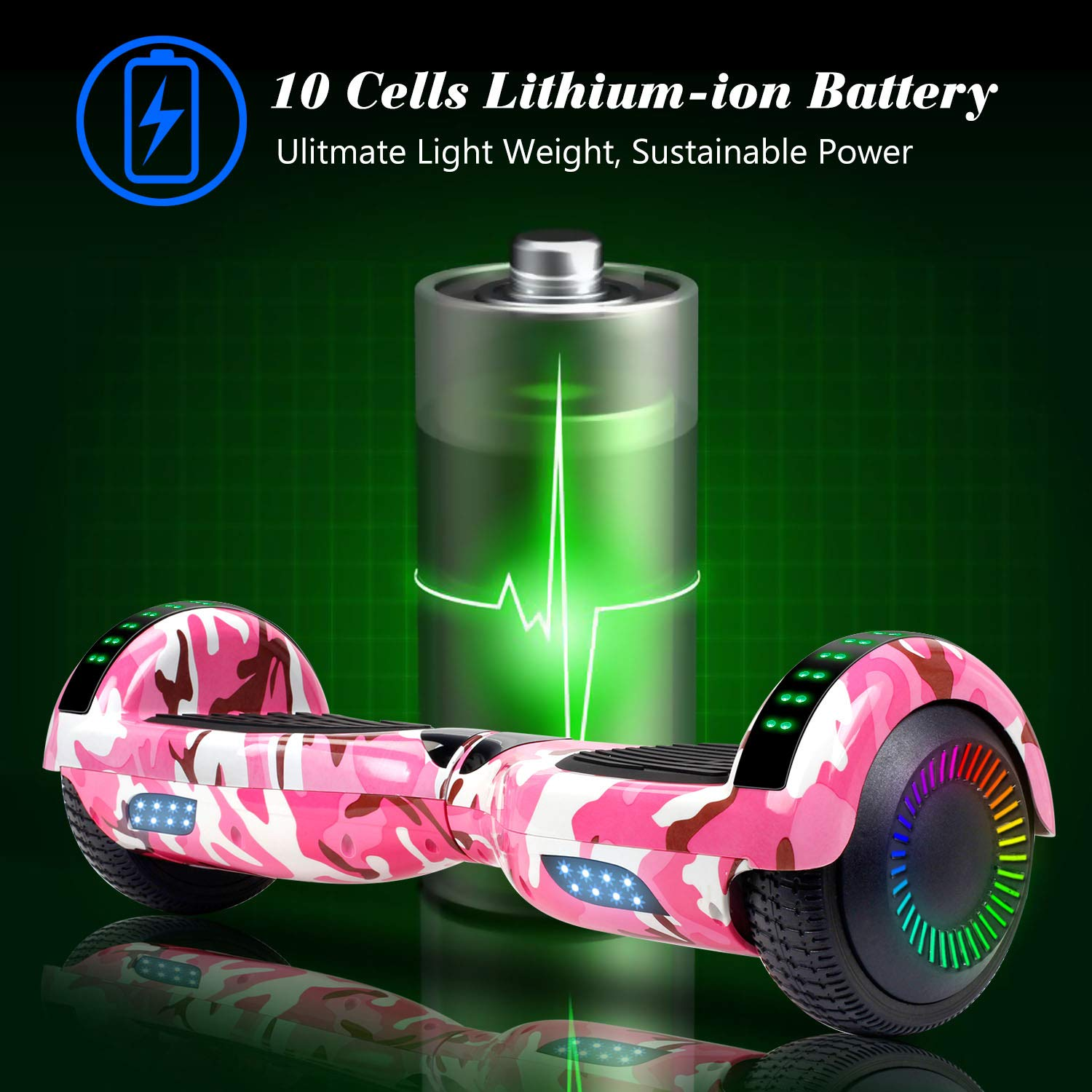 SISIGAD Hoverboard Self Balancing Scooter 6.5'' Two-Wheel Self Balancing Hoverboard with Bluetooth Speaker and LED Lights Electric Scooter for Adult Kids Gift UL 2272 Certified Fun Edition - Pink Camo by SISIGAD (Image #3)