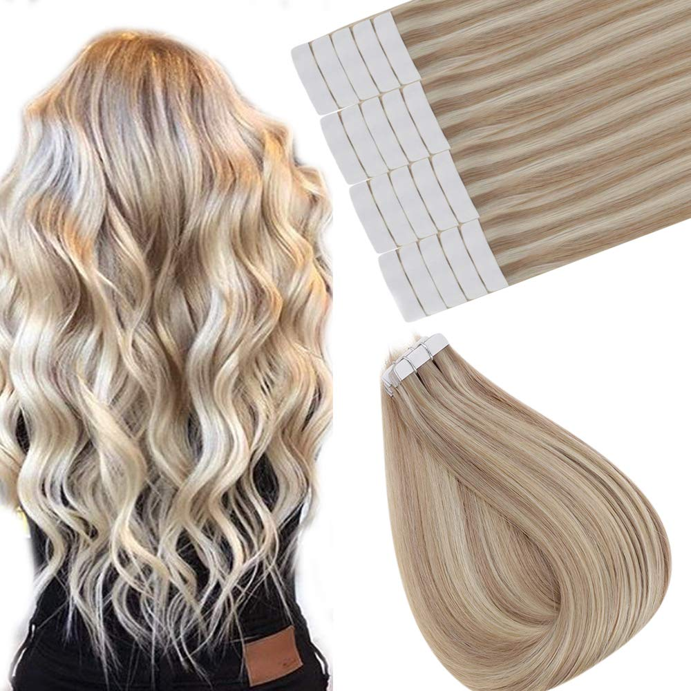 [ONLY 20.99]Easyouth Skin Weft Human Hair Extensions 12inch Balayage Color Ash Blonde Highlighted with 24 Blonde 20pcs 30gram Remy Seamless Tape Skin Weft Human Hair Extensions