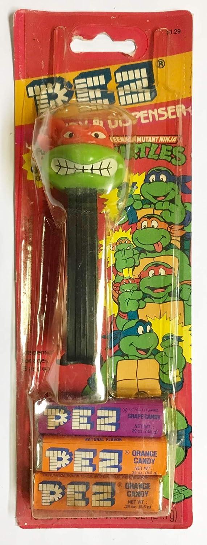 1994 Vintage Teenage Mutant Ninja Turtles Black Candy & Dispenser - Raphael Version A
