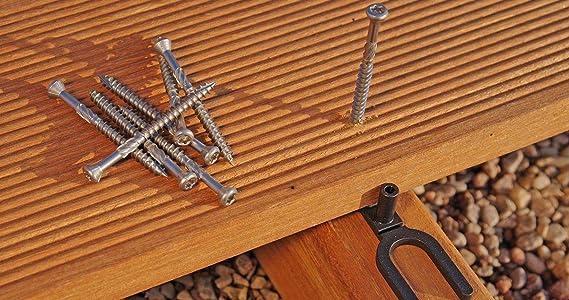 en acier inoxydable C1 pour lames en bois embout pour tournevis Bit 5x50 mm inclus Vis du professionnel pour terrasses 200 pi/èces