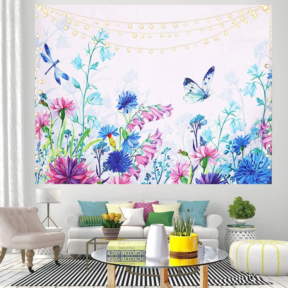 Nobranded Bohemian Colorful Floral Plants Tapestry Watercolor Decorative Wildflower Butterfly Botanical Wall Hanging Aesthetic Fabric Tapestries for Living Room Bedroom Dorm, 59x78