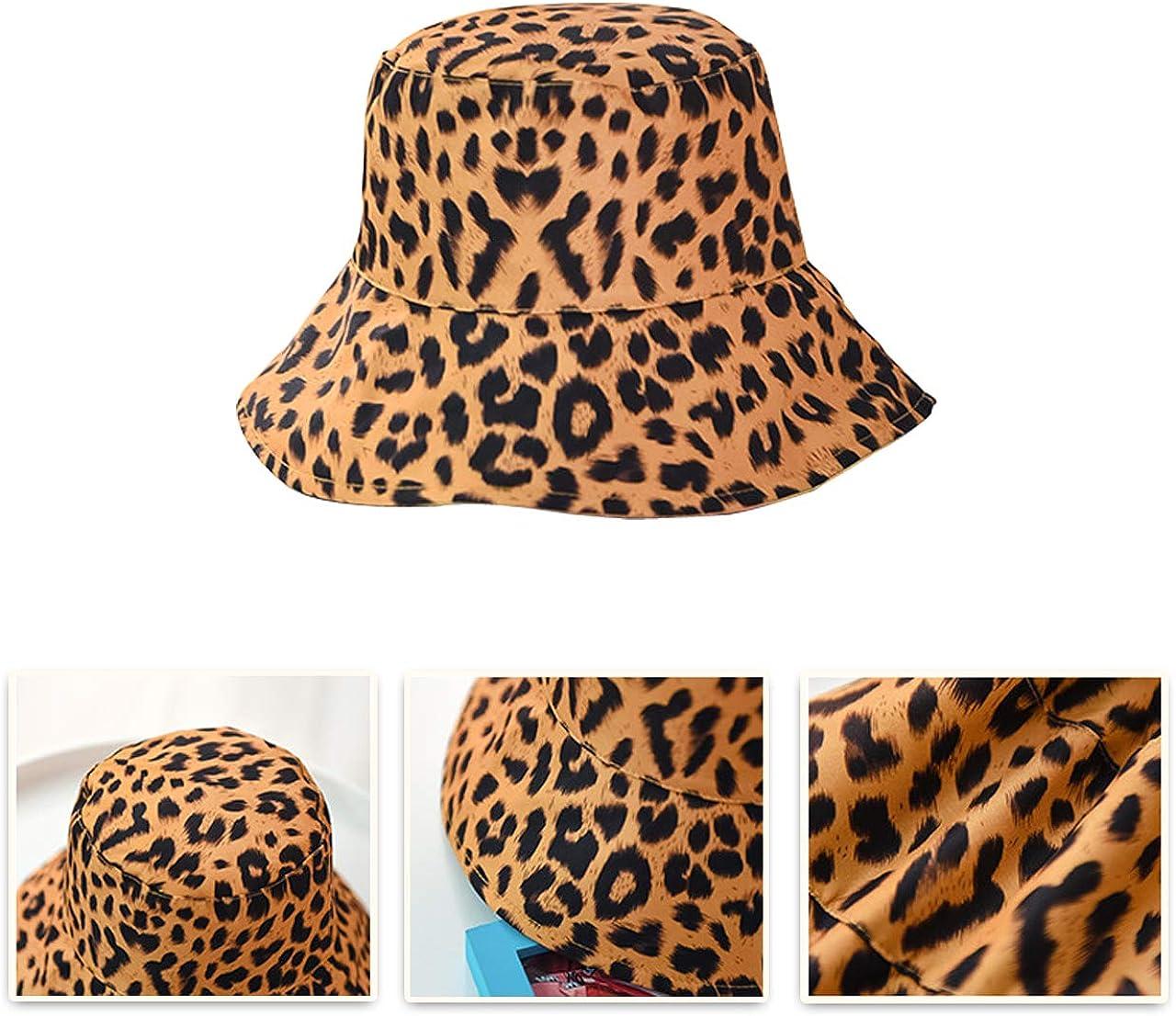 Faletony Women Leopard Print Bucket Hat Summer Packable Reversible Sun Hat