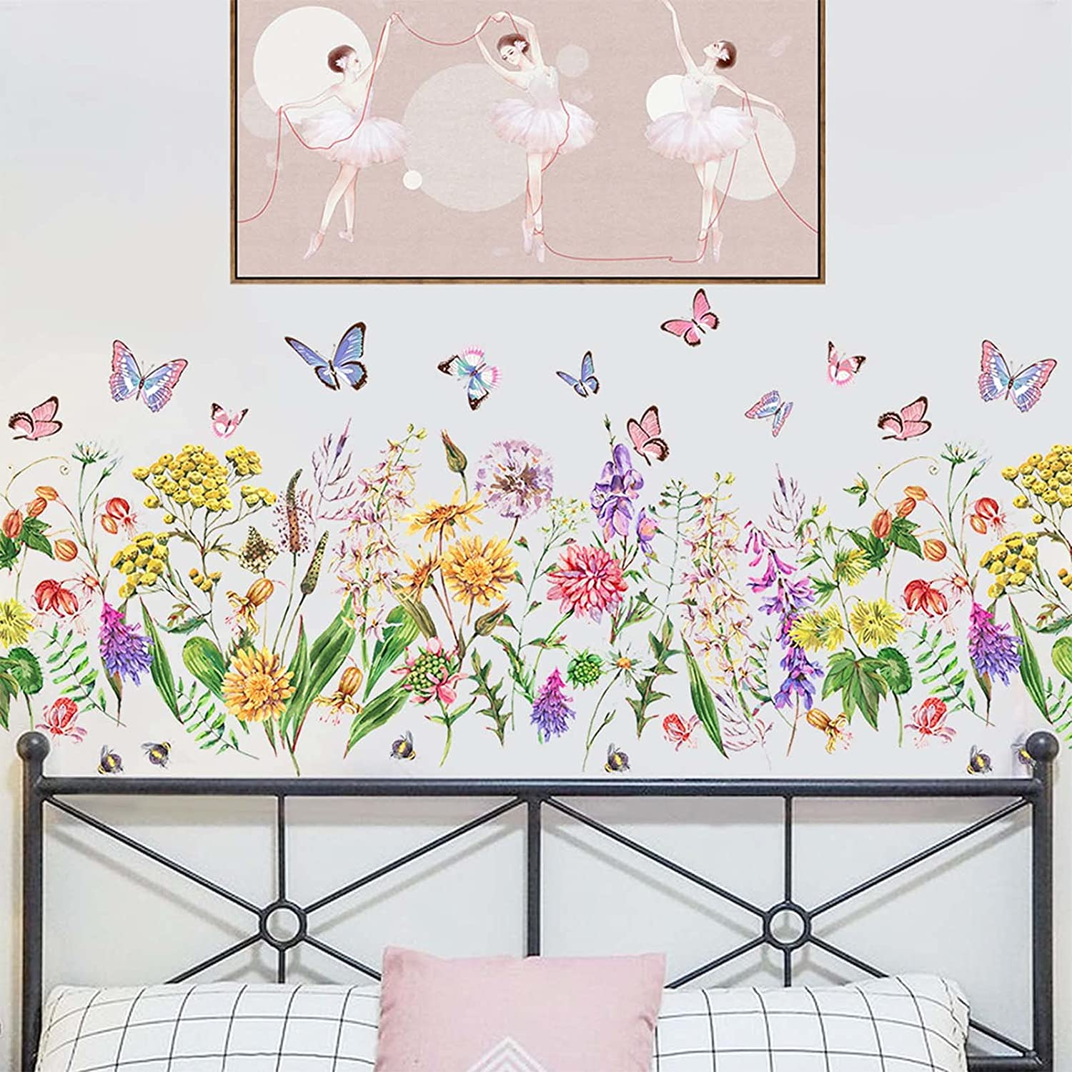 Spring Garden Flowers Wall Decals Colorful Butterflies Bees Peel and Stick Wall Sticker, SMFANLIN Floral Vines Wall Murals Wallpaper Decor for Kids Nursery Bedroom Bathroom Kitchen Home Decoration