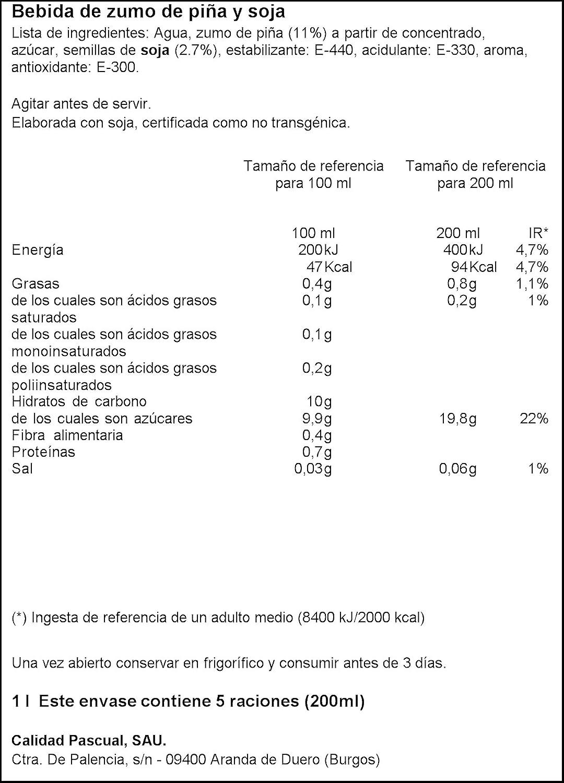 Vivesoy Bebida de Soja y Zumo de Piña - 1 l: Amazon.es ...