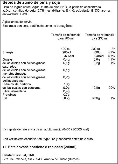 Vivesoy - Bebida de Zumo de Piña y Soja - 1 L: Amazon.es: Alimentación y bebidas