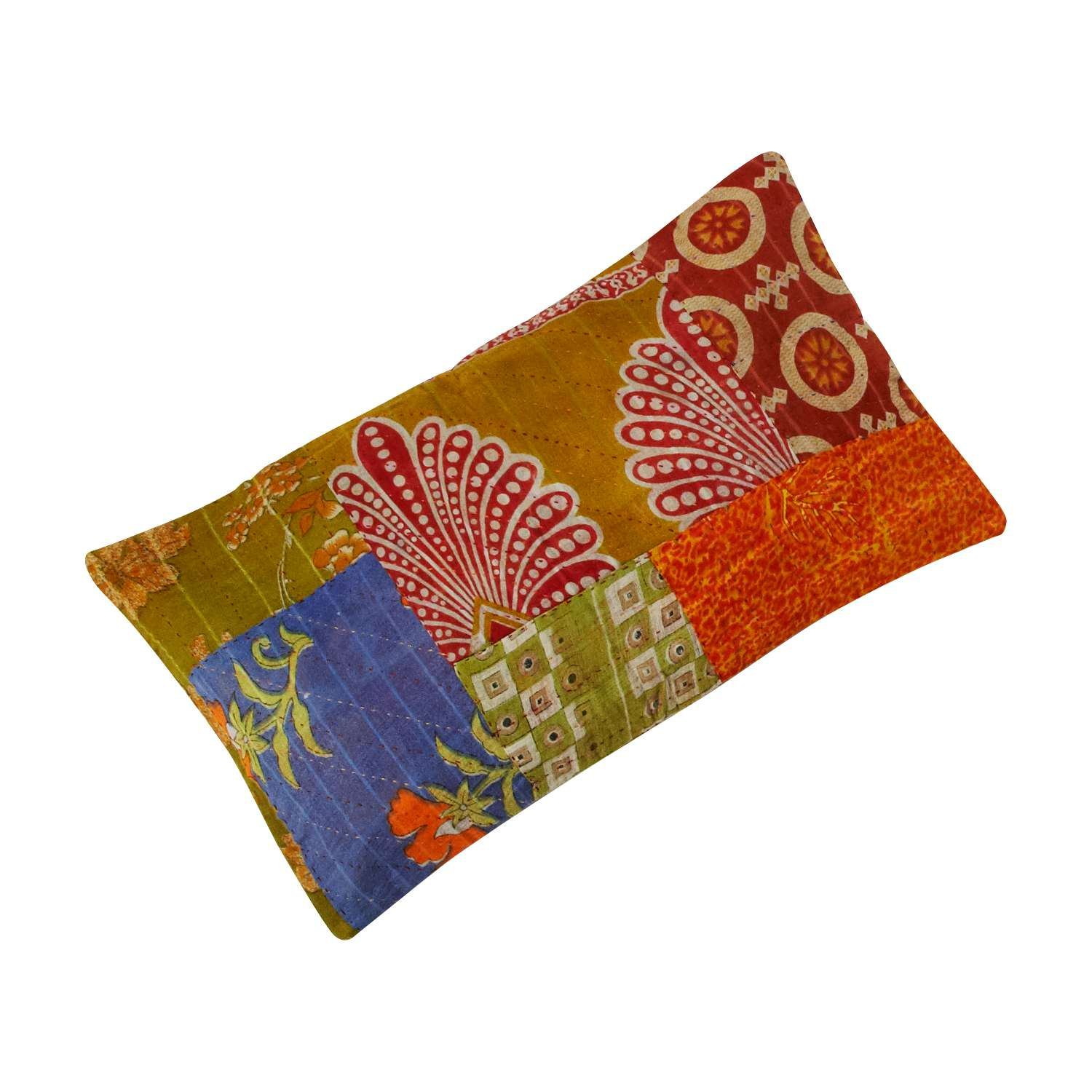 Ten Thousand Villages Patchwork Fabric Throw Cushion Cover (Insert Included) 'Sari Motif Cushion'