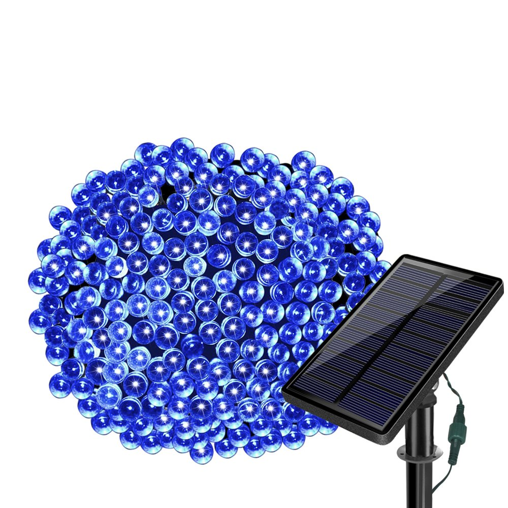 Solar String Lights 77ft 220 LED Fairy Lights ,8 Modes Outdoor String Lights Waterproof Blue Christmas Decorative Ambiance Lighting for Patio,Lawn,Garden,Home,Wedding,Holiday,Xmas Tree/USB Charge