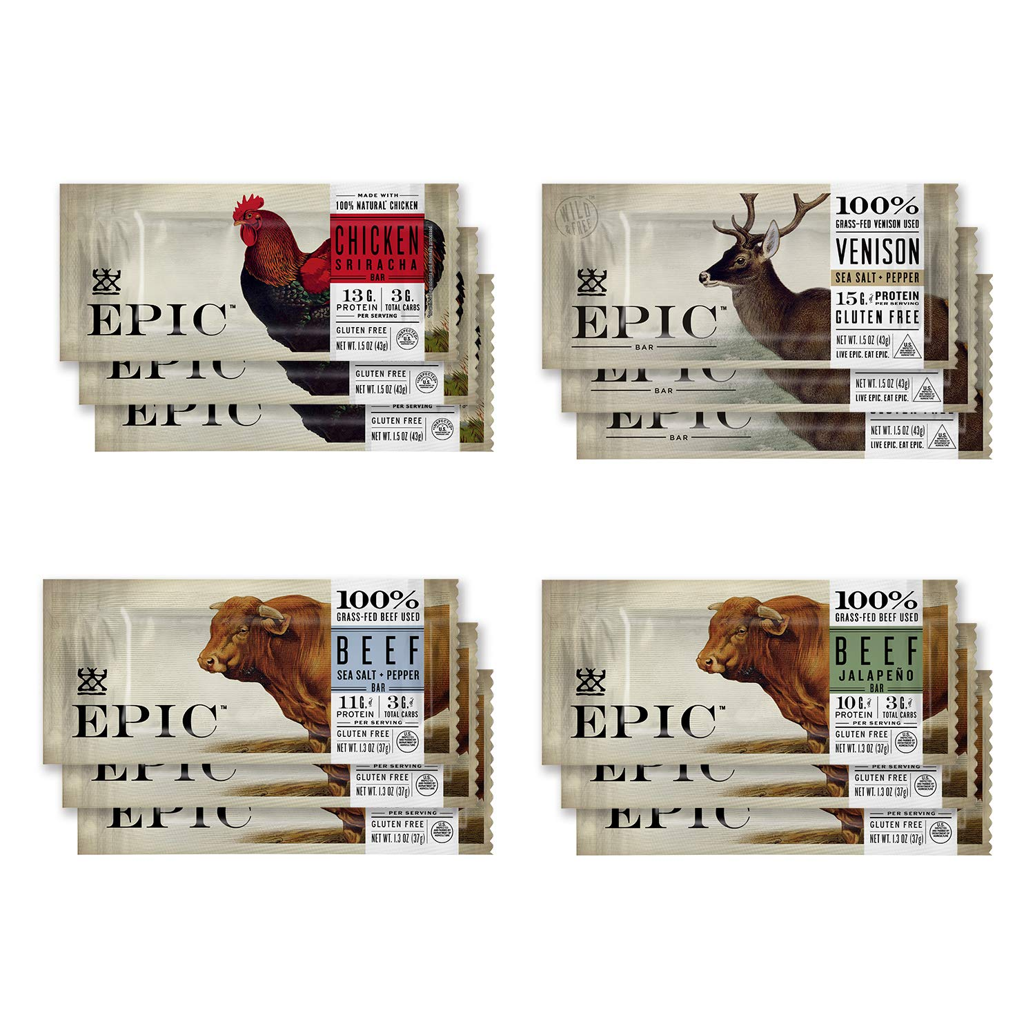 EPIC Bars, Variety Pack (Chicken, Beef, Venison), Keto-Friendly, 12 Bars