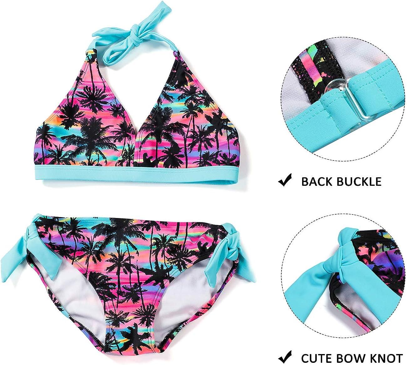 DUSISHIDAN Toddlers /& Big Girls Swimsuit Two-Piece Tankini Top and Brief Set
