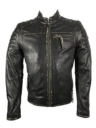 Reborn Fashion Lammleder Herren Jacke John Schwarz Biker-Jacke Echt-Leder  Motorradlederjacke Übergangsjacke Oberbekleidung 049744981c